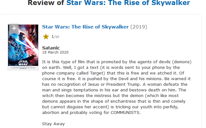Imdb Reviews Star Wars The Rise Of Skywalker Know Your Meme