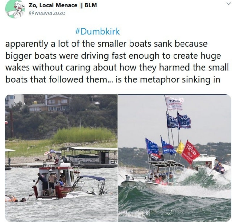 Dumbkirk Trump Boat Parade On Lake Travis Texas Know Your Meme