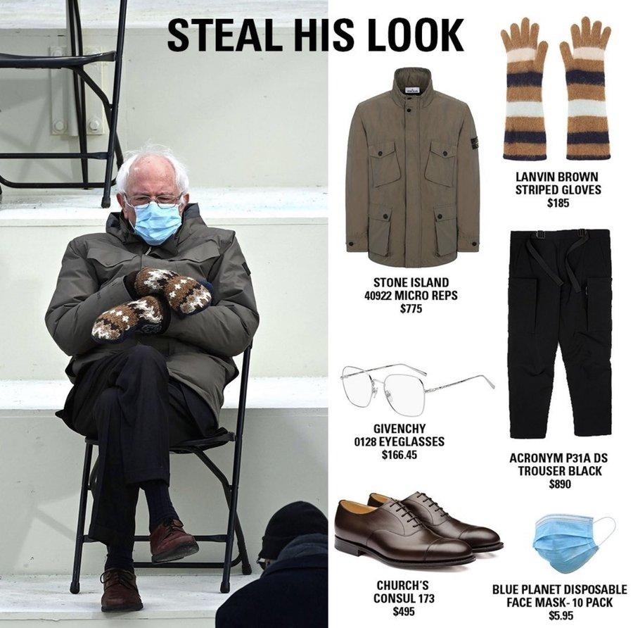 Steal Bernie S Look Bernie Sanders Wearing Mittens Sitting In A Chair Know Your Meme
