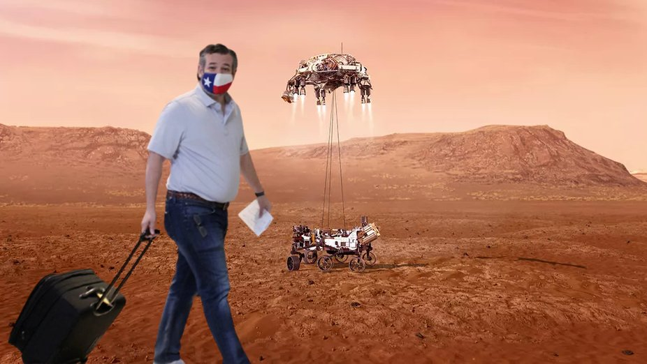 Ted Cruz Flees To Mars Perseverance Rover Landing Photograph Know Your Meme