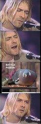 BATTLE PIGEON ent N Kurt Cobain Dave Grohl Pat Smear Suicide of Kurt Cobain head forehead