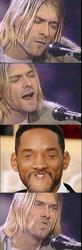 Kurt Cobain Dave Grohl Pat Smear face man head forehead chin facial hair