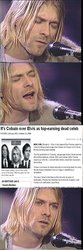It's Cobain over Elvis as top-earning dead celeb POSTED: 2:56 pum. EDT, 0ctober 24, 2006 Adjust tort size: NEWYORK (Reuters) Rock'n' roll legend Evis Presley ceded his crown to Nirvana lead singer Kurt Cobain on Forbes.com's list as the top-earning dead celebrity The list, published on Tuesday, said grunge rocker Cobain earned $50 million between October 2005 and 0ctober 2006. Presley wound up in the No. 2 slot with 342 million, down from last year's $45 million. Forbes.com bases its dollar amounts on licensing deals for using the deceased celebrities'work or image in adyertising or Kurt Coban (center), shown here on the cover of Nirvana's Wth the Lights Out, led the Forbes.com list. elsewhere This was Cobain's firsttime on the list n its si years of publication. Presley has ruled the roost since its inception, said Forbes.com staff writer Lacey Rose ADVERTISER LINKS Karaoke Machines Kurt Cobain Dave Grohl Pat Smear human hair color nose blond chin head forehead